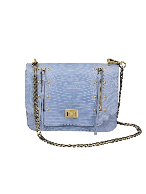 Empire Flap Bag with Brass Chain - Pale Blue