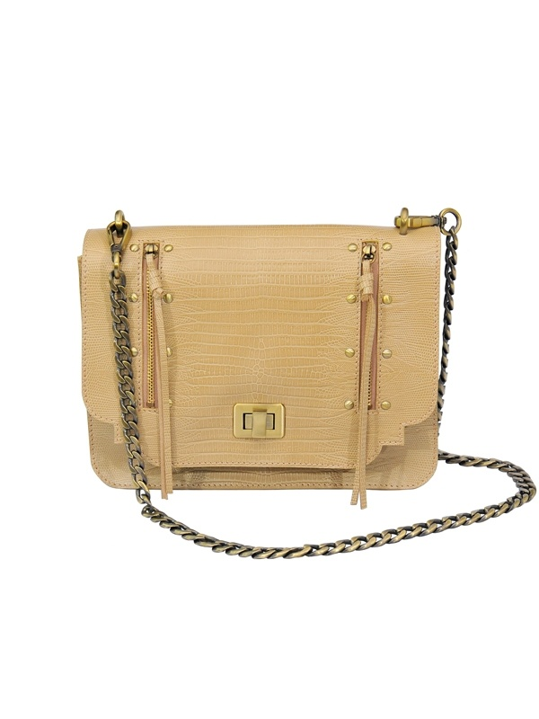 Empire Flap Bag with Brass Chain - Beige